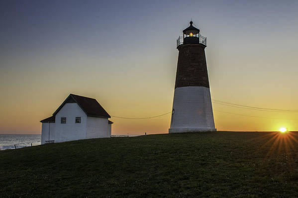 Lighthouse Art Poster featuring the photograph Point Judith Light At Sunset by Thomas Schoeller