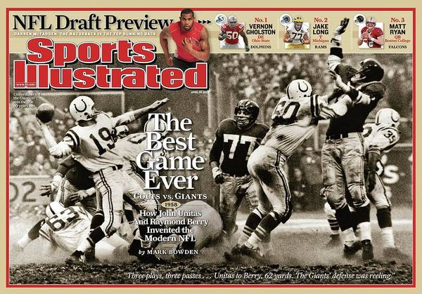 Magazine Cover Poster featuring the photograph The Best Game Ever 1958 Colts Vs. Giants Sports Illustrated Cover by Sports Illustrated