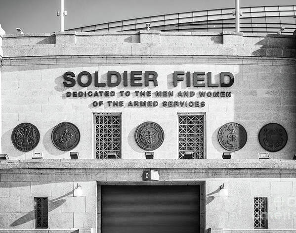 Chicago Bears Soldier Field Sign Black and White Photo by Paul Velgos