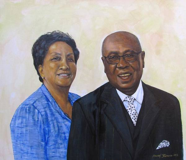 Portrait Poster featuring the painting Pastor Donahue and Yvonne Green by Howard Stroman