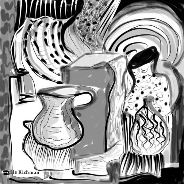 Cubist+drawing Cubism Black+white Digital Artistic Julie+richman Artist+drawing Poster featuring the drawing Cubist Still Life by Julie Richman