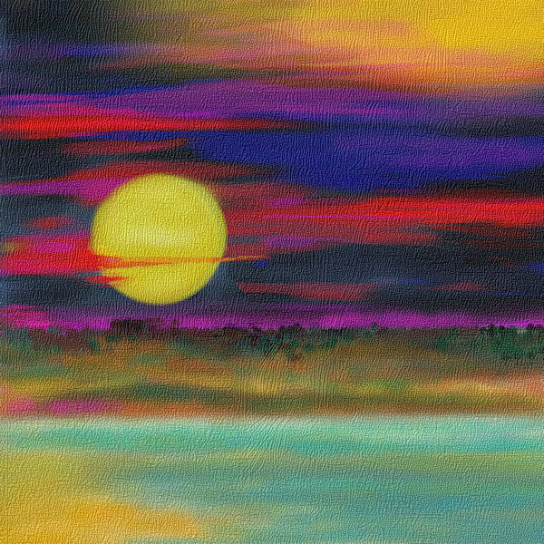 Landscape Poster featuring the drawing Purple Sunset by Julie Richman