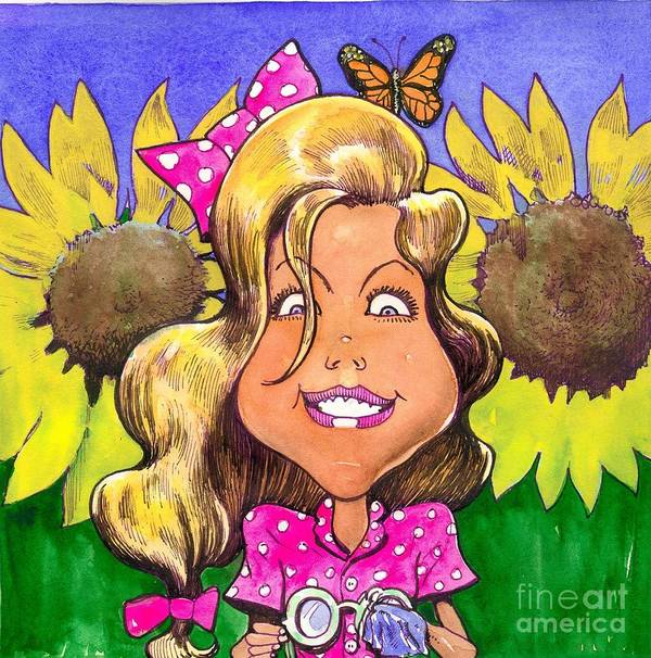 Kids Poster featuring the painting Amelia In Sunflowers by Robert Myers
