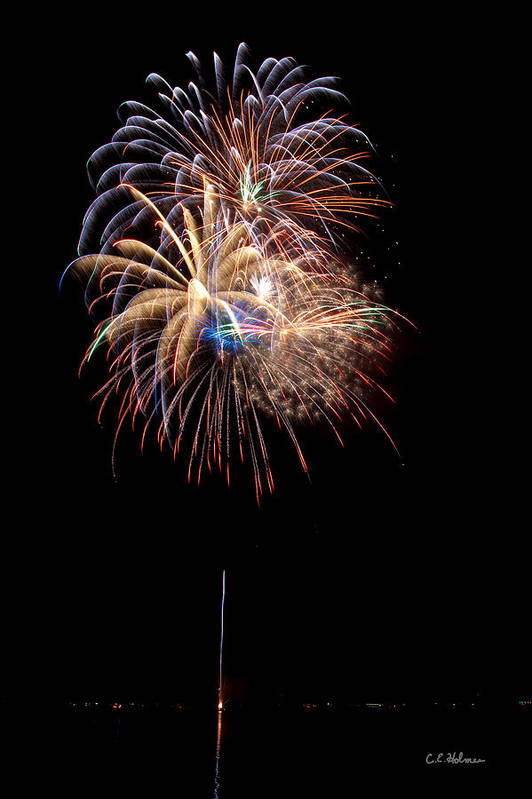 Fireworks Poster featuring the photograph Fireworks IIi by Christopher Holmes