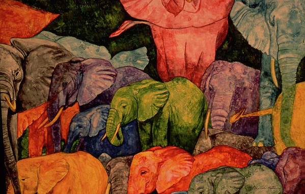 Dee Van Houten Poster featuring the painting Elephant Party by Dee Van Houten