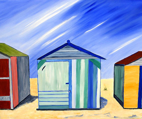 Caribbean Poster featuring the painting Beach Shacks by Sula Chance