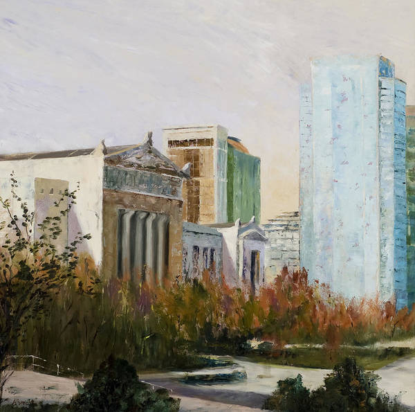 Landscape Poster featuring the painting Chicago Museum Campus From The Steps Of The Shedd by Nancy Albrecht