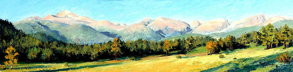 Rocky Mountains Poster featuring the painting Rocky Mountain Panoramic by Mary Giacomini