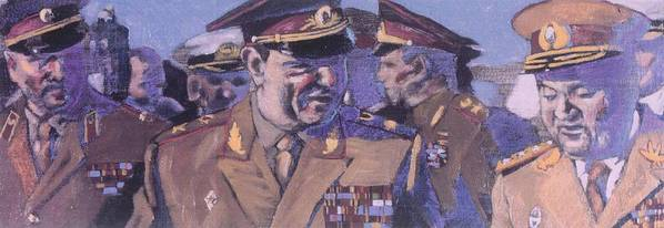 Russian Poster featuring the painting The Russian Generals by Michael Facey