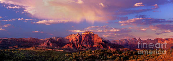 North America Poster featuring the photograph Panorama West Temple At Sunset Zion Natonal Park by Dave Welling