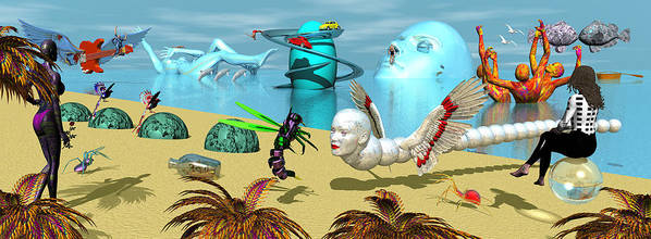 Surrealism Poster featuring the painting Water World by Robert Maestas