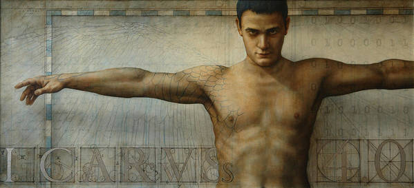 Icarus Poster featuring the painting Icarus 4.0 by Jose Luis Munoz Luque