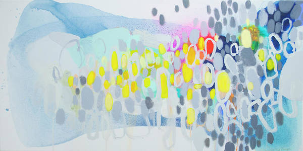 Abstract Poster featuring the painting Ten O'clock Flight by Claire Desjardins