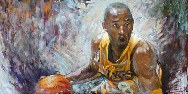 Lakers Poster featuring the painting Nba Lakers Kobe Black Mamba by Ylli Haruni