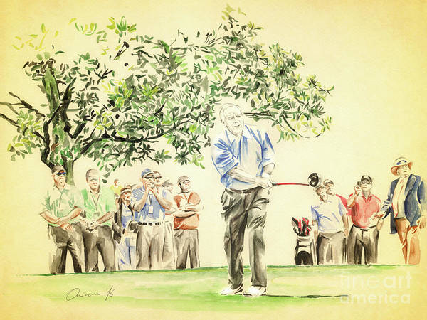 Arnold Palmer Poster featuring the painting The King under Magnolia by Olivera Cejovic
