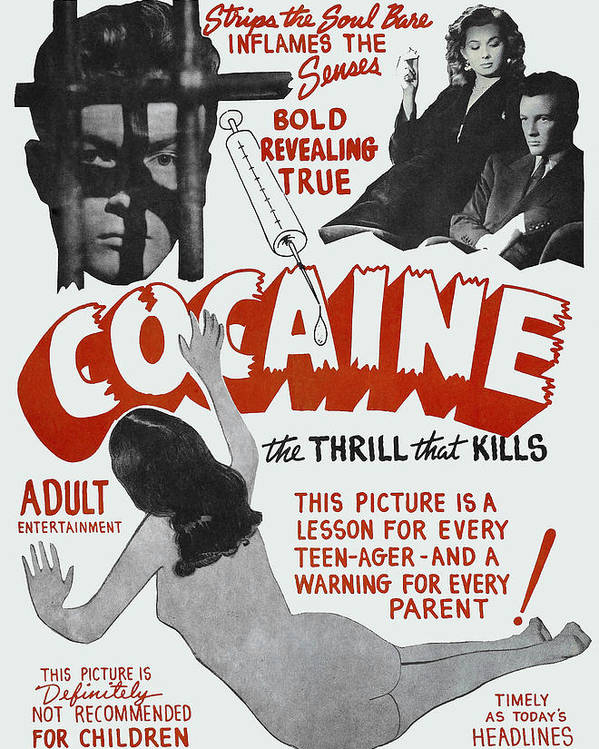 COCAINE ... the THRILL THAT KILLS LOBBY POSTER 1948 by Daniel Hagerman