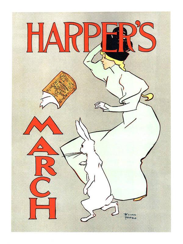 Harper's Magazine - March - Vintage Art Nouveau Poster by Studio Grafiikka
