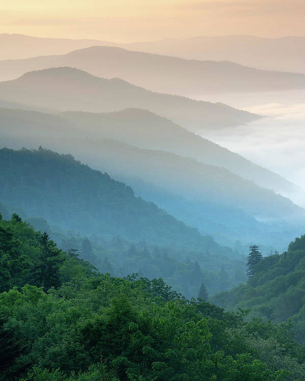 Great Smoky Mountains National Park Oconaluftee River Valley Sunrise by Mark VanDyke