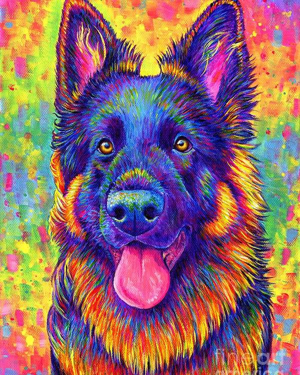Psychedelic Rainbow German Shepherd Dog by Rebecca Wang