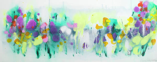 Abstract Poster featuring the painting Where The Irises Grow by Claire Desjardins