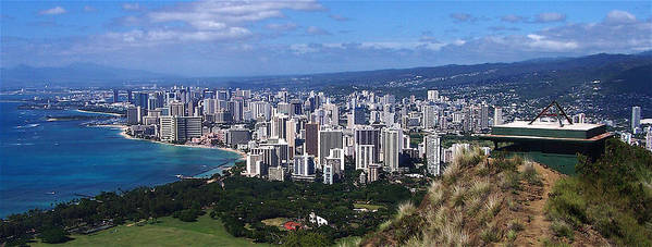 Landscape Poster featuring the photograph Downtown Honolulu by Michael Lewis