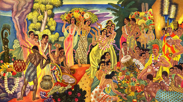 Hawaii Greeting Cards Poster featuring the painting Island Feast by James Temple