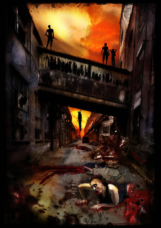 Horror Poster featuring the painting The Perimeter Guard by Mandem