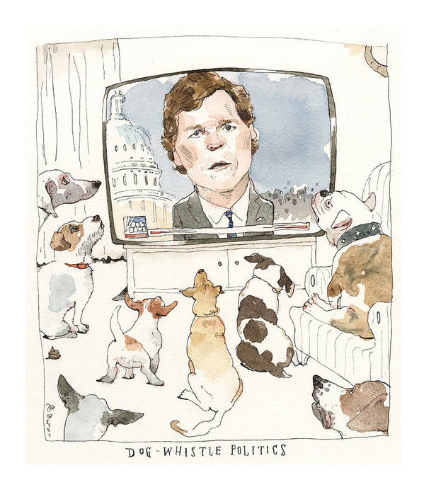 Tucker Carlson Goes to the Dogs by Barry Blitt