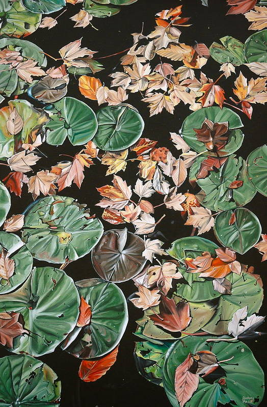 Lily Pads Poster featuring the painting Lily Pads And Leaves by Anthony Mezza