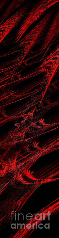 Abstract Poster featuring the digital art Rhapsody In Red V - Panorama - Abstract - Fractal Art by Andee Design