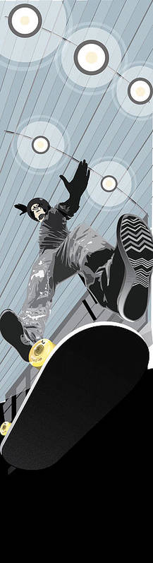Skater Poster featuring the mixed media Form by Jim Howard