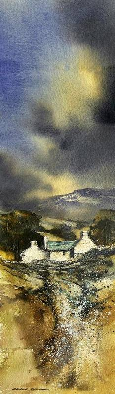 Landscape Poster featuring the painting Deserted Farm West Cork by Roland Byrne