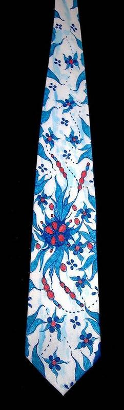 Hand Painted Ties Poster featuring the tapestry - textile Hand Pinted Tie by Jordana Sands