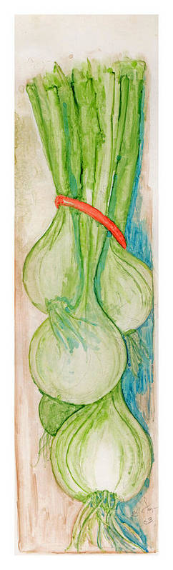 Still Life Poster featuring the painting Green Onions by Elle Smith Fagan