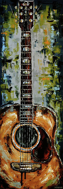 Guitar Poster featuring the painting Martin by Magda Magier