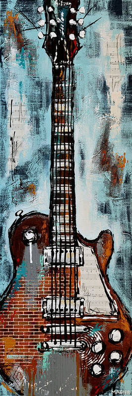 Guitar Poster Poster featuring the painting Roadhouse blues by Magda Magier