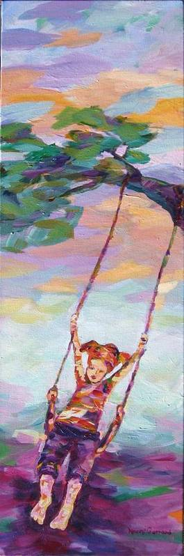 Child Swinging Poster featuring the painting Swinging With Sunset Energy by Naomi Gerrard