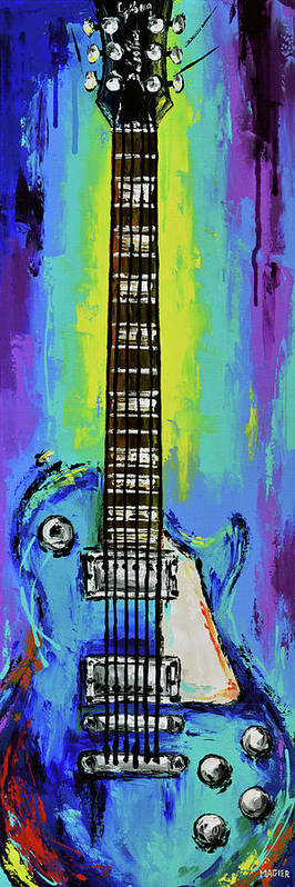 Electric Guitar Poster featuring the painting The colors of music. by Magda Magier