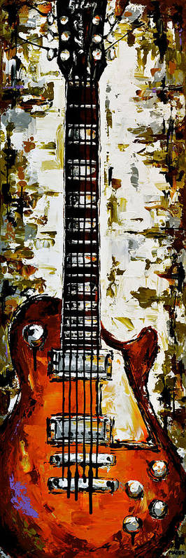 Guitar Poster featuring the painting Warm green vibes. by Magda Magier