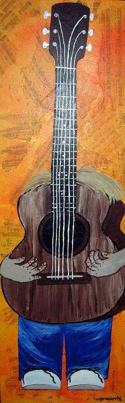Guitar Poster featuring the mixed media Play For Me by Sharon Supplee