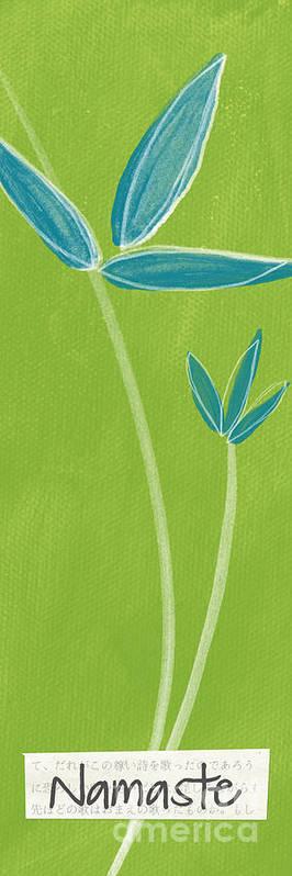 Namaste Poster featuring the painting Bamboo Namaste by Linda Woods
