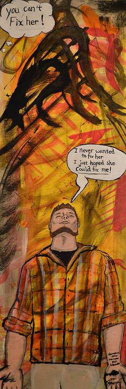 Comic Book Poster featuring the painting Broken by Jason Browning