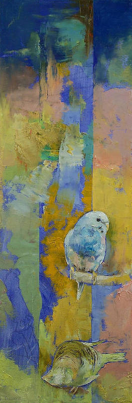 Michael Creese Poster featuring the painting Feng Shui Parakeets by Michael Creese