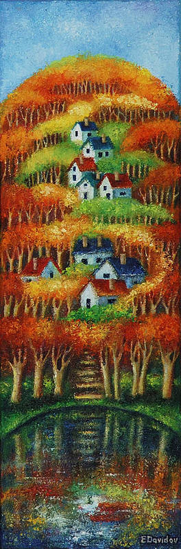 Landscape Poster featuring the painting Indian Fall No 2. by Evgenia Davidov