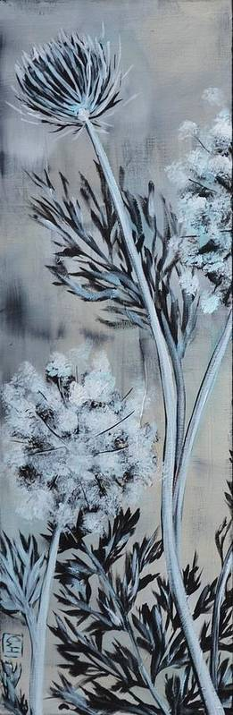 Queen Anne's Lace Poster featuring the painting Queen's Lace 1 by Holly Donohoe