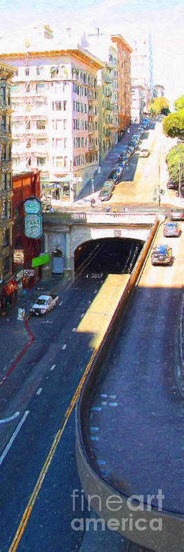 San Francisco Poster featuring the photograph Stockton Street Tunnel In Heavy Shadow . Long Version by Wingsdomain Art and Photography