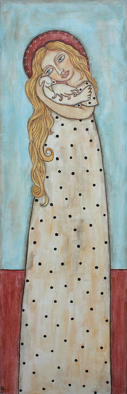 Folk Art Paintings Poster featuring the painting Tall Angel With Bird by Rain Ririn