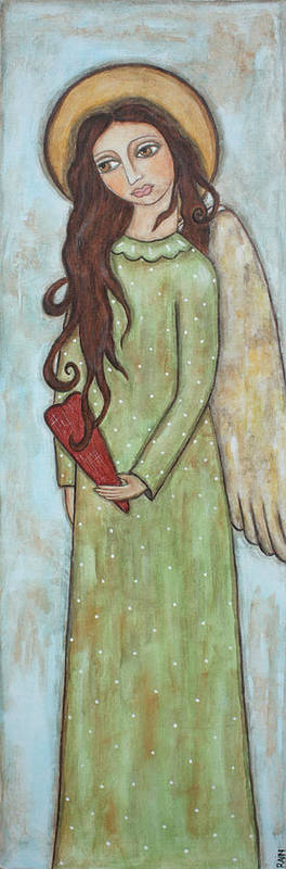 Folk Art Paintings Poster featuring the painting Tall Angel With Heart by Rain Ririn