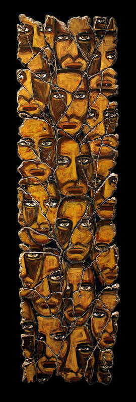 Faces Poster featuring the painting Empyreal Souls No. 5 by Steve Bogdanoff