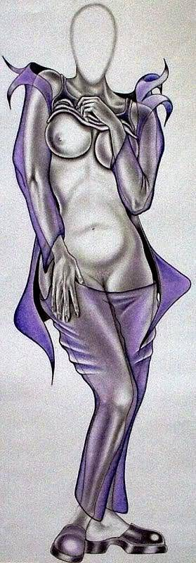 Portraits Poster featuring the drawing Purple Passion by Rick Hill
